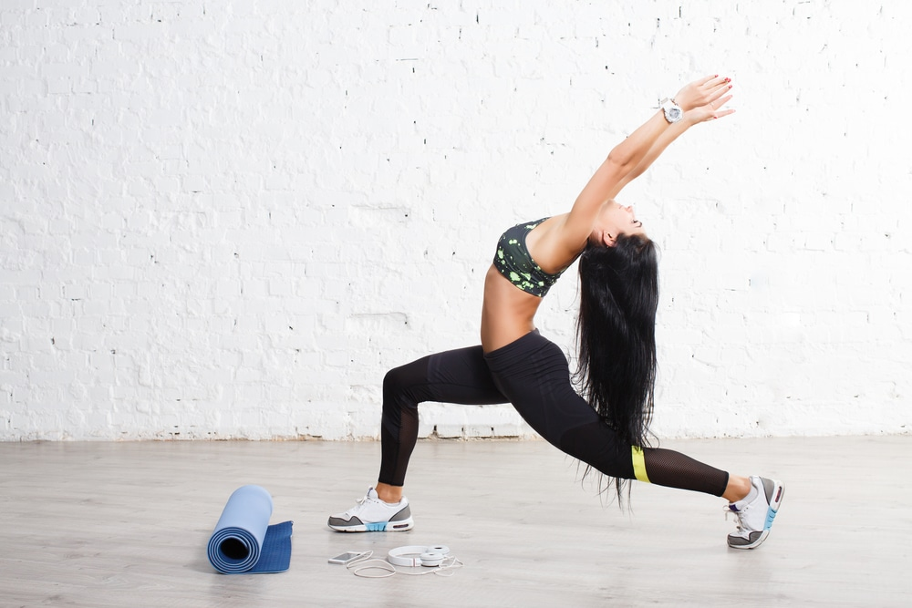 woman exercising with long hair