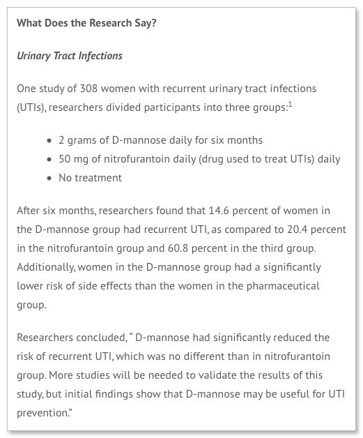 What Does the Research Say about D mannose UTI urinary