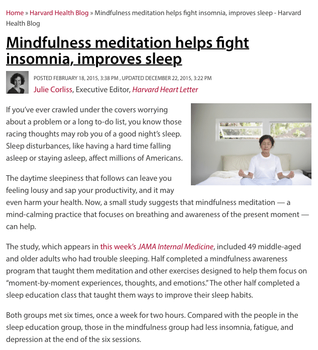 mindfulness meditation improves insomnia and sleep