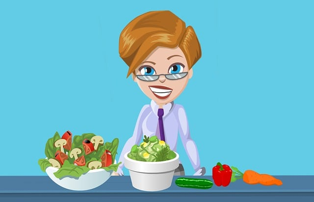 animated woman cooking a low carb salad
